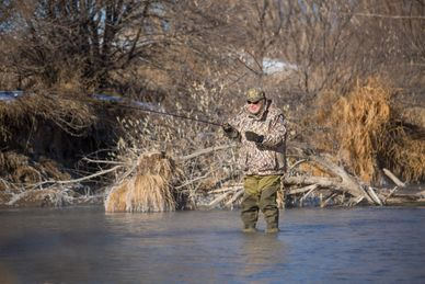 Winter fly-fishing at The North Platte Outpost by Cheyenne Ridge Outfitters.