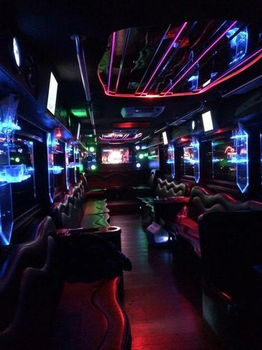 Party Bus, Limo Bus Extreme. Limousine for Shuttle Bus.