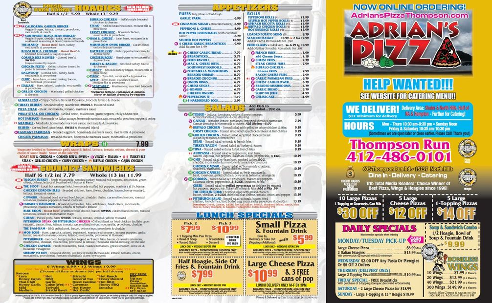 Adrian's Pizza Thompson Run Road Menu Pg1