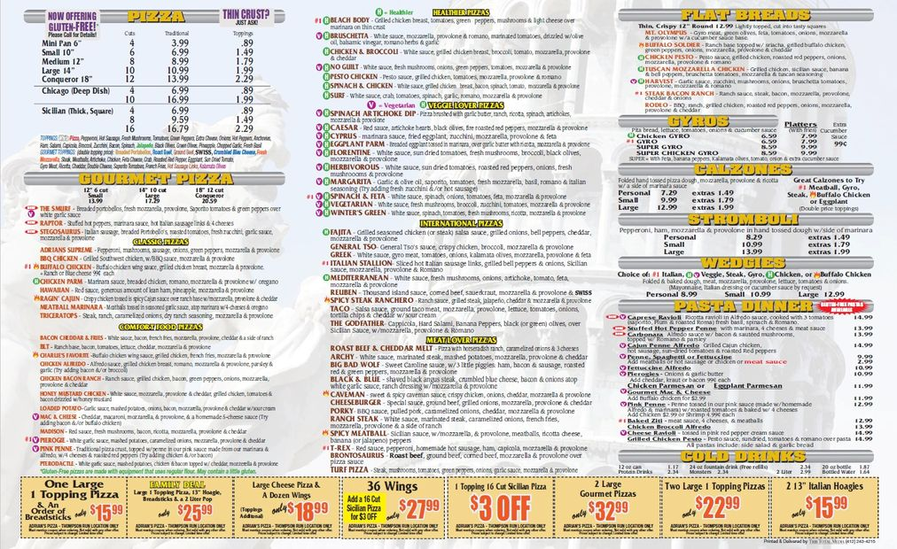 Adrian's Pizza Thompson Run Road Menu Pg2