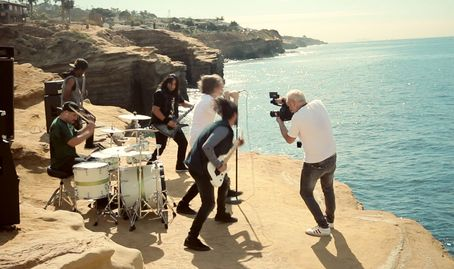 Shooting music video on Sunset Cliffs in San Diego by Frontman Media.  Frontman Video Productions
