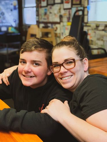 Grizzly Manor Cafe Manager Janelle Scherer and son Aiden Scherer