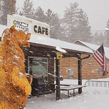 Grizzly Manor Cafe snow day Big Bear Lake California