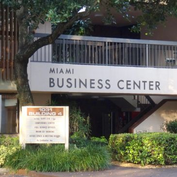 The outside entrance of the main Ives Dairy Miami Business Center used by Miami Entrepreneurs, Miami lawyers, Miami Court Reports, Davinci Virtual, Davinci Meeting Rooms, Opus Virtual, & Alliance Virtual Offices