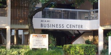 Miami Business Center on Ives Dairy Road with signage for Office Space Conference Rooms Depositions Miami Coworking