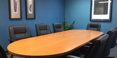 A Miami Conference Rooms table and chairs used for Miami Depositions on Ives Dairy Road.