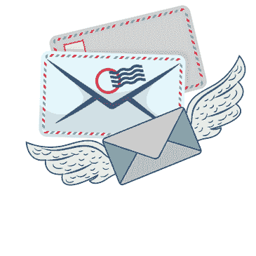 An illustration of flying mail to depict the services of Miami Virtual Office.  Miami Mailbox.  Miami business. Miami Address. Miami Business Address at A Miami Mailbox location.