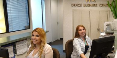 Miami Reception desk and Telephone Answering. Miami Telephone number.  Miami secretaries with Office Business Center logo