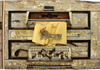 bark, fabric, golf club, piano parts, door part, marbles