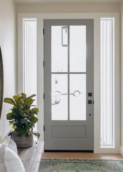 Exterior door with 4-pane glass and sidelights