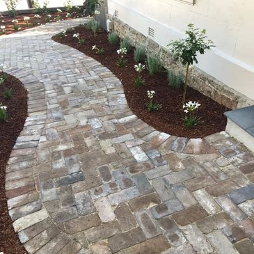 Paving recycled brick landscaping construction inner west heritage herringbone horticulture pave