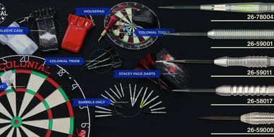 Colonial Darts brand including soft tip darts, steel tip darts, dart boards, darts accessories and d