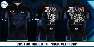 Magic Wear Sports Apparel USA Darts Production Custom Jersey V1 Available for Custom Order.