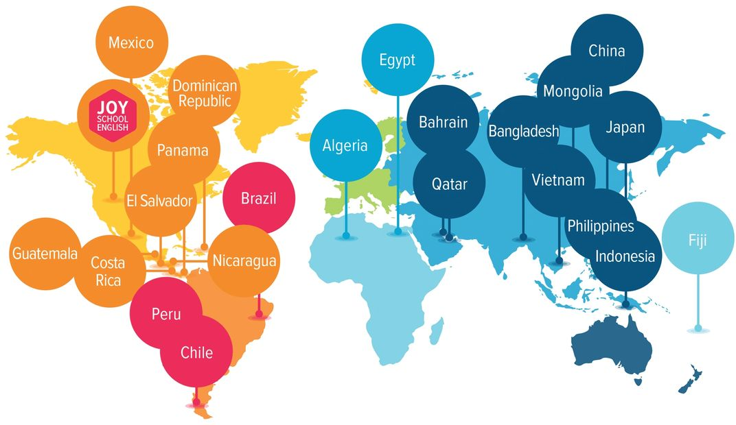 Countries using Joy School English throughout the world.