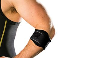 A man with a black singlet wears a tennis elbow brace on his left arm