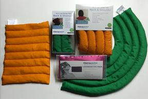 A selection of orange and green heatpacks