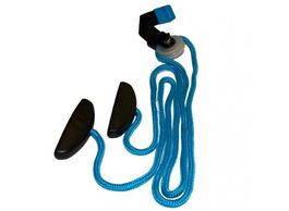 A blue shoulder pulley rope with black handles
