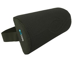 A black lumbar support pillow with strap