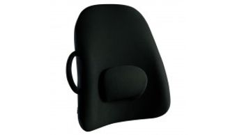 A black chair support with cushion for lower back support
