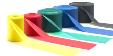 Five rolls of resistance band in a variety of colours and strengths