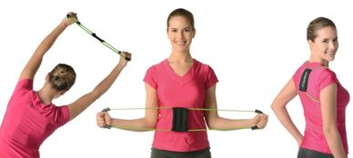 A woman wearing a pink t-shirt performs three different exercises with resistance bands