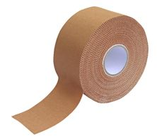 A single roll of rigid physio tape in tan colour