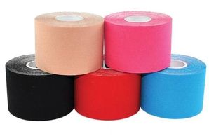 Five rolls of physio tape in a variety of colours