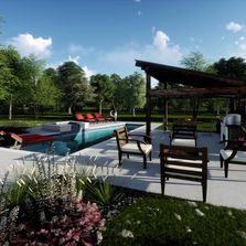 contemporary pool, exercise pool, cabana, firepit, computer illustration