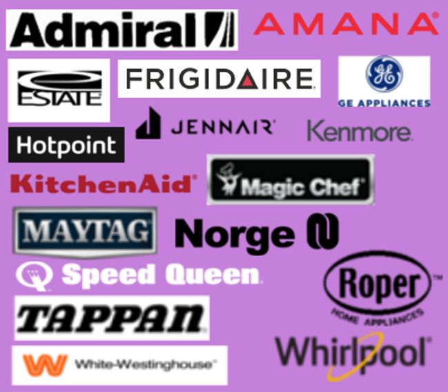 Machines Serviced -admiral, amana, frigidaire, GE, hotpoint, maytag, kenmore, kitchenaid, whirlpool