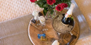 celebration package, flowers, sparkling cider, chocolates, flutes, birthday, anniversary, amenity
