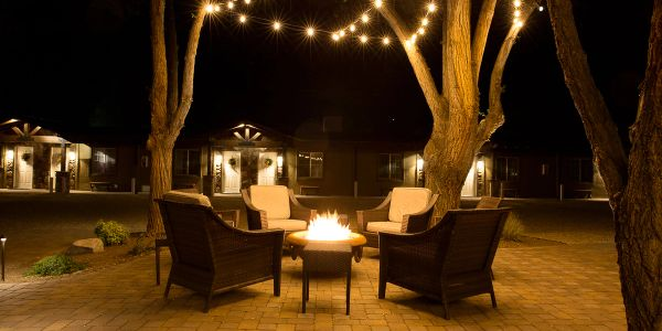 courtyard fire pit with chairs