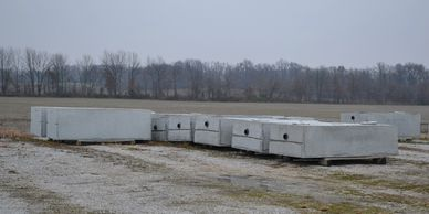 Concrete tanks ready for delivery.