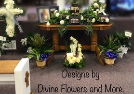 A special tribute memorial service with designs by Divine Flowers and More. Cross Easel Spray, Memor