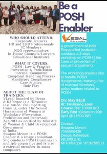 Be a POSH Enabler - 9-10 May 2020 - Pune