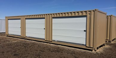 40 foot conex shipping container with 3 10 foot roll up doors installed