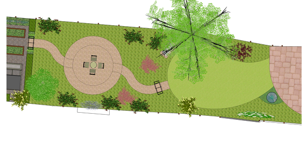 3D computer designs for garden landscaping: long, narrow town garden concept design in Bath