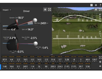 Trackman Screenshot to allow the golfer to see what actually happens when club meets ball.