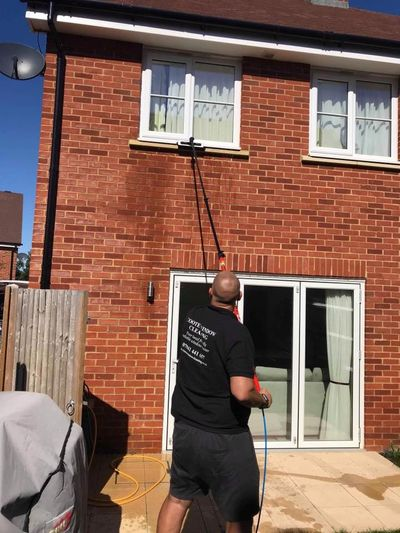 Window cleaning using reach and wash system