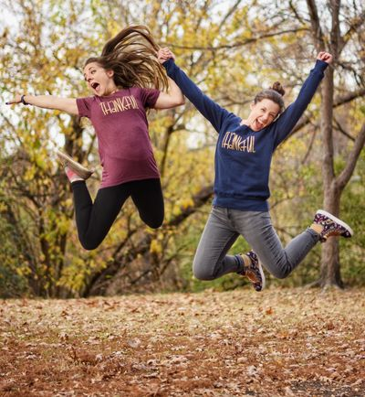 Thankful design on maroon short sleeve and navy fleece; custom designed and printed by Amber Lee