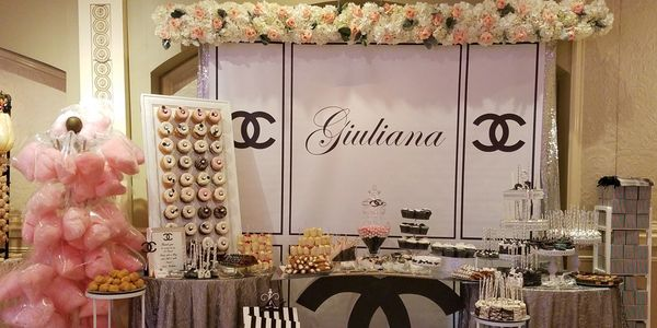 Chanel inspired Sweet Table filled with amazing treats, Cotton candy,  Cupcakes, Cakepops and more.