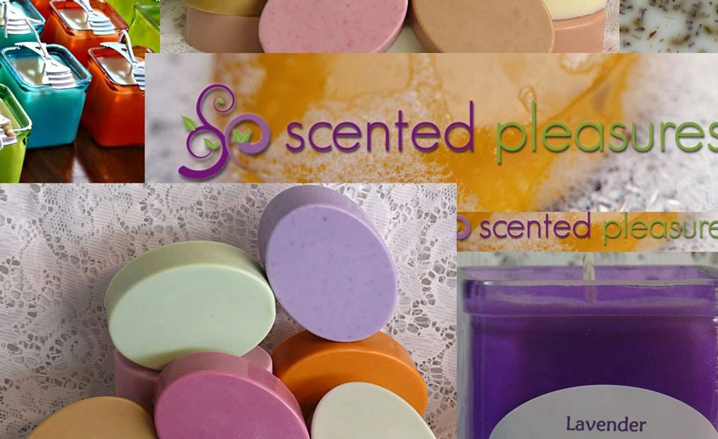 pictures of soaps, candles, Scented Pleasures Gifts logo