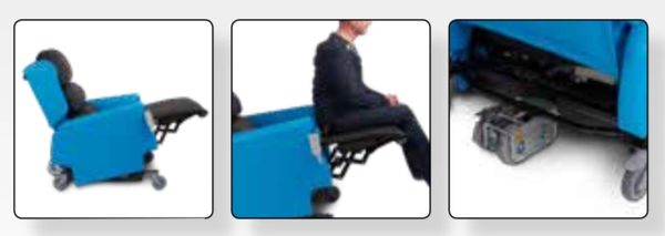 This picture shows you the Bariatric BLTR with the high extended leg rest when the chair is tilted,
