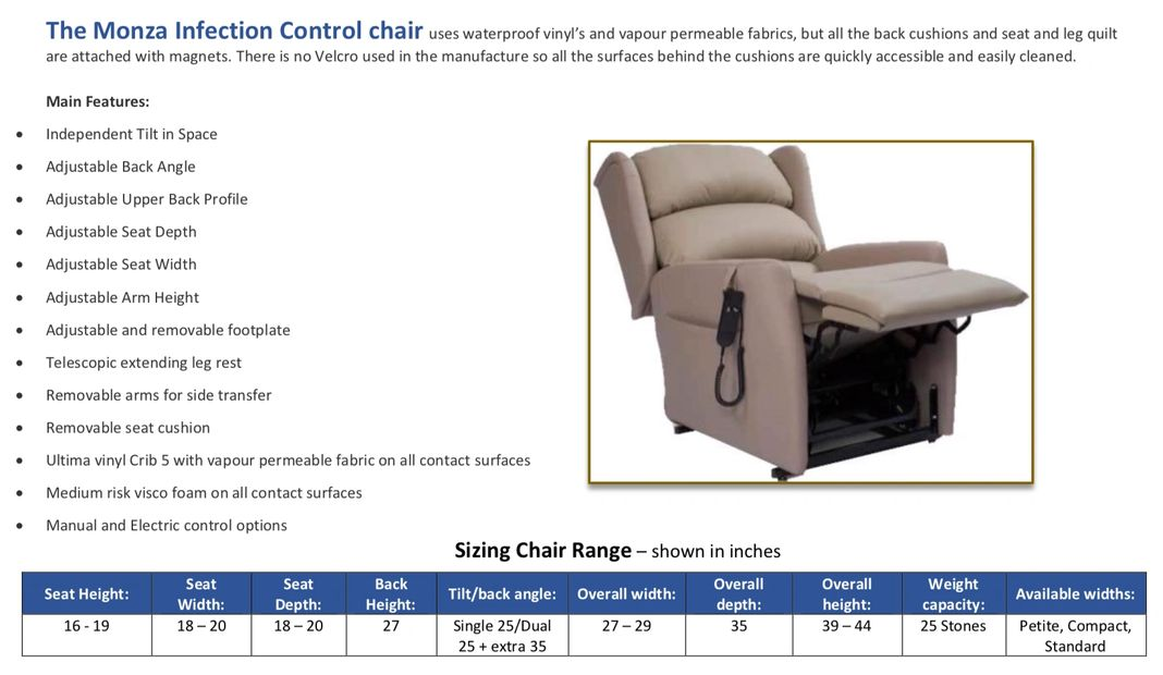 The Monza Infection Control Rise and Recliner chair