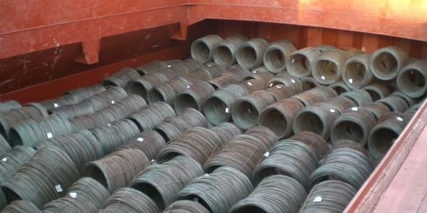 Prime Steel Wire Rods in Coil being shipped to Eemshaven , The Netherlands.