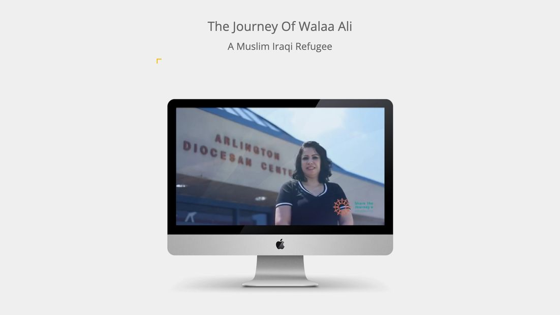 Computer with an image of Walaa Ali on the screen.