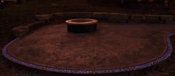 Glow-in-the-dark concrete,  stamped concrte patio, fire pits, outdoor living spaces,