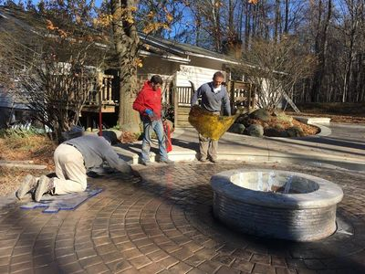 Stamped concrete patio, natural gas fire pit, outdoor living spaces, Decorative concrete, fire pit