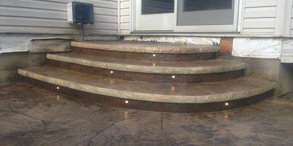 led lighting in concrete, outdoor living spaces, stamped concete patio, decorative concrete