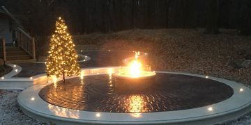 Stamped concrete, natural gas firepit, fire feature, Outdoor living space, led lighting, patios