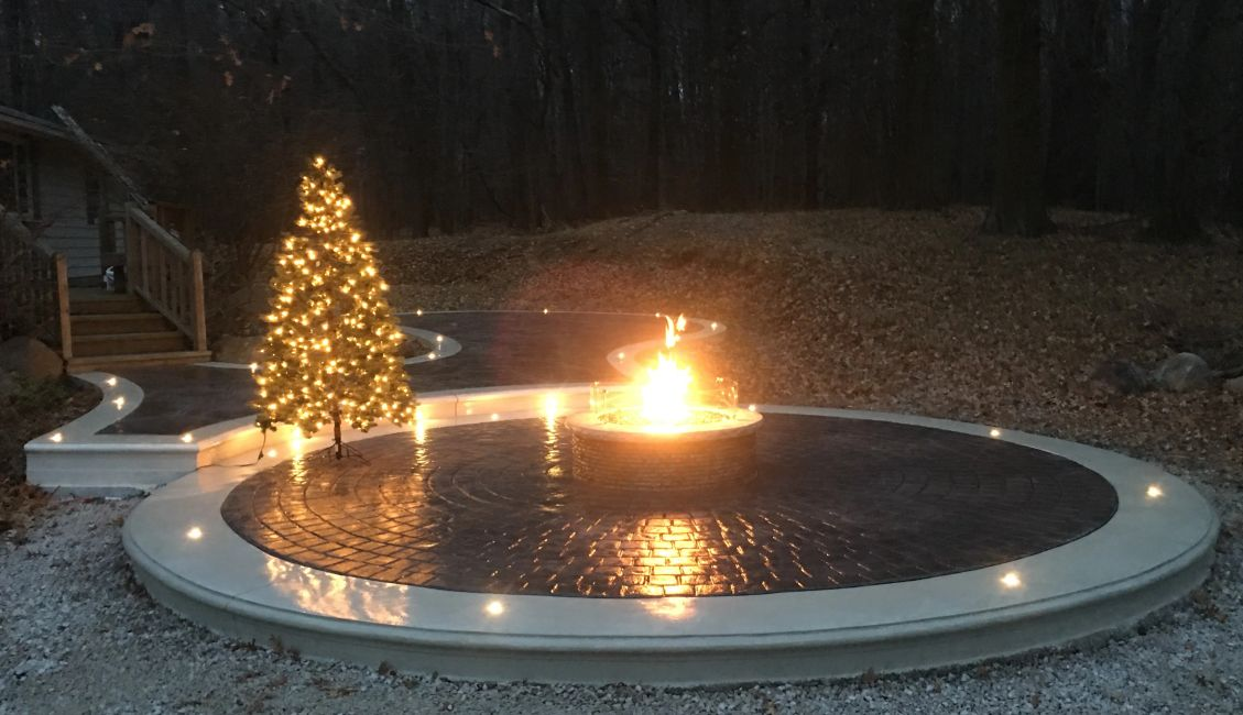 Outdoor living spaces, stamped concrete, decorative concrete, fire pits, fire features, LED lighting